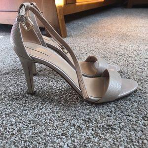 Aldo Nude Beige Embossed Leather Heels